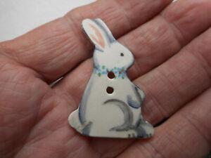 "Button Ceramic Painted Realistic Rabbit Vintage Button 1-3/4"" RS Idabelle 1993"