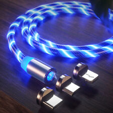 LED Flowing Light Up Magnetic Fast Charger Cable Android Type C Micro USB IOS