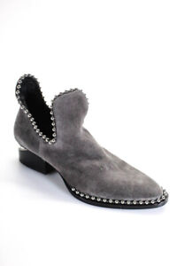 Alexander Wang Womens Kori Suede Studded Cut Out Ankle Boots Gray Size 40 10