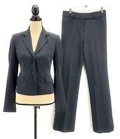 Charles Nolan Womens Pant Suit Gray 2 XS Jacket & Bootcut Trouser Surgeon Cuffs