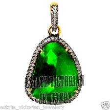 Diamond Emerald Silver Pendant Jewelery Victorian Style 1.03cts Rose Antique Cut