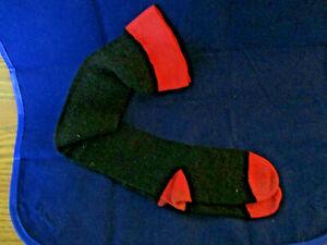 """Vintage 1950's Pair Toddlers Black & pink 100% Nylon Stretch Knee Socks 12"""""""