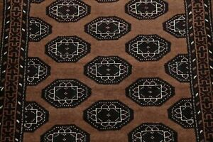 BROWN 3x3 Square Geometric Balouch Bokhara Afghan Oriental Area Rug Wool Carpet