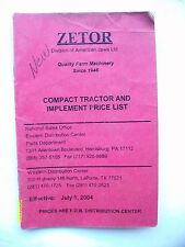 Vintage Original 2004 Zetor Tractor & Implement Price List booklet 20-pages