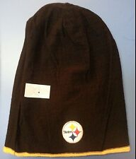 PITTSBURGH STEELERS REVERSIBLE   KNIT CUFFLESS BeanIe hat toboggan ..NFL