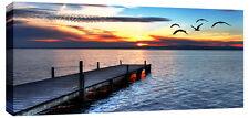 "Large Sunset Sea Canvas Art Pier Bridge Blue 44""x20"" ready 2 hang chunky frame"