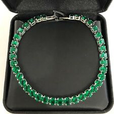 Handmade Round Green Emerald Bracelet Women Wedding Jewelry 18K Gold Plated