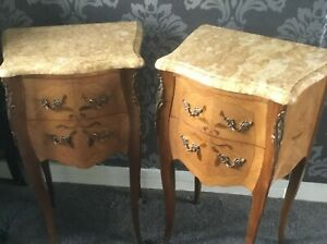 SUPERB PAIR FRENCH KINGWOOD MARQUETRY TABLES WITH MARBLE TOPS LOUIS XVI STYLE