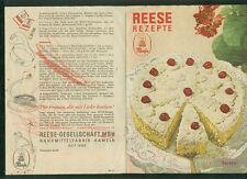 Altes Rezept-Faltblatt Reese Rezepte 1952 Zeichnungen Torten Hameln