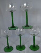 Vintage Wine Glasses Green Stem Lot of 5 France