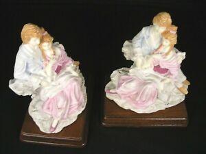 "Elegant & Unusual Set of ""Lady & Gentleman"" Bookends in Soft Pastel Colors"