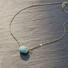 Pastel Turquoise Crystal Druzy Gold Necklace, Sparkly Boho Raw Quartz Pendant