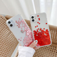 For iPhone 12 11 Pro Max XR XS 8 7 X Glitter Quicksand Case Clear Silicone Cover