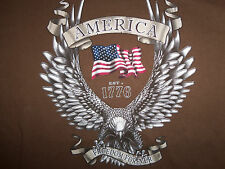 American Freedom Forever Patriotic Brown Graphic Print T Shirt - L