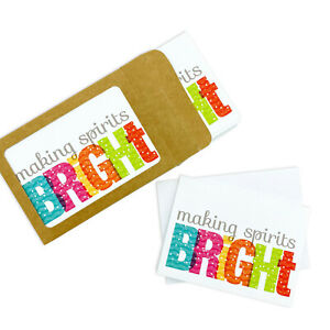 Making Spirits Bright Set of 10 Illustrated Boxed Christmas Note Cards