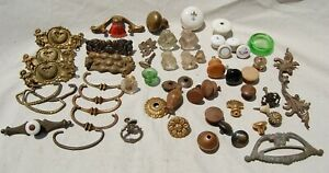 NICE HUGE Lot of Miscellaneous Vintage Antique Glass & Wood Drawer Knobs Pulls