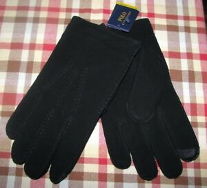 Men's (M) POLO-RALPH LAUREN Black Suede Leather/ Cashmere TOUCH Gloves