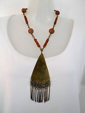 SALE Clay and Wood Beads with Bronze Hanging Tassel Pendant was $18 NOW $14