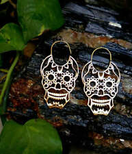 Fine Mandala Skull Handmade Tribal Brass Boho Hoop Gypsy Earrings Gauges Girls