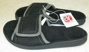 Men's Size S 7-8 Black Dearfoams Slip-On Slippers NEW