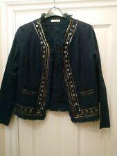 Nougat Navy Embellished Jacket - Size 12