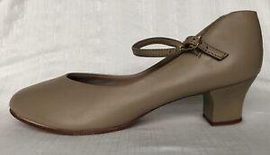 """Capezio Women's Dance Shoes 9M Neutral Tan Leather Sole Ankle Strap 1 3/4"""" Heel"""