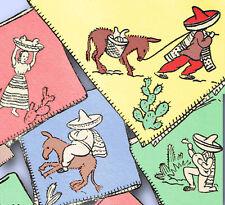 1950s VTG Aunt Martha's Embroidery Transfer 9475 Uncut Mexico Way Tea Towels
