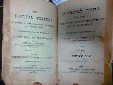 Judaica old Hebrew Prayer Machzor for Shevuot, London 1860 by Rev. D. A. Sola.