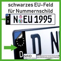 4x D Sticker EU Feld für Kennzeichen Aufkleber Kfz Auto schwarz PREMIUM