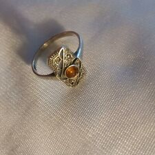 Stunning Antique Art Deco 1920's Citrine Silver Ring Size N 1/2