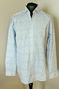 SELECTED Herren Hemd langarm Größe XL / 44 weiss hellblau geblümt (A3/367)