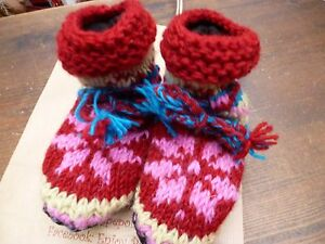 Children Blue Red Pink CLEARANCE Knitted Lined Wool Handmade Wool Slipper Socks