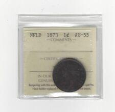 **1873**, ICCS Graded Newfoundland, Large One Cent, **AU-55**