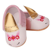 Baby Girls Doll Unicorn Soft Sole Party Dress Shoes for American Dolls Accs