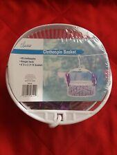 True Living Essentials Clothespin Basket; 40 clothespins, hanger hook