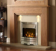 ELECTRIC OAK SURROUND SILVER CREAM MARBLE LED FLAME FIRE FIREPLACE SUITE LIGHTS