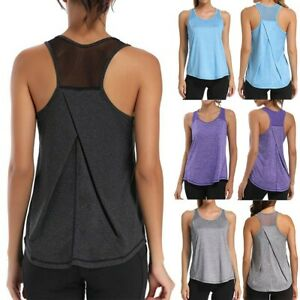 Women Sports Workout Tops Mesh Racerback Tank Yoga Shirts Gym Clothes Blouse