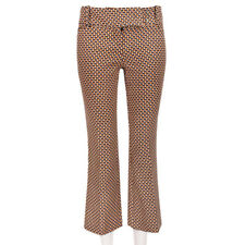 Michael Kors Caramel Black Geometric Cropped Bootcut Leg Trousers Pants US0 UK4