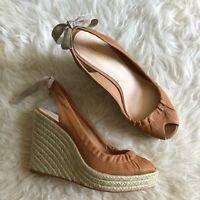 Coach Sz 9 Tan Maritza Wedge Espadrille Shoes Open Toe Back Bow Detail