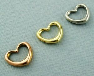 9ct Gold Floating Heart Pendant / Charm - Yellow Gold - Rose Gold - White Gold