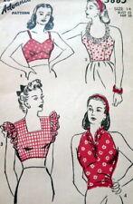 Lovely Vtg 1940s Blouse Advance Sewing Pattern 14/32