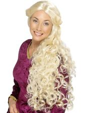 Long Blonde Medieval Curly Wig Princess Renaissance Ladies Fancy Dress