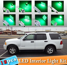 12-pc Green LED Car Interior Light Bulbs Package Kit Fit 2002-2005 Ford Explorer