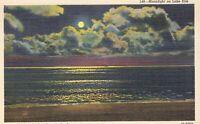Moonlight Lake Erie Beach Ohio Vacationland 1940s Linen Postcard