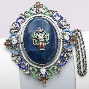 Antique Victorian Silver Austro Hungarian Enamel Lapis Brooch Pendant Necklace