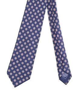 Brioni Navy Blue Smooth Satin Geometric Floret Macclesfield 100% Silk Tie