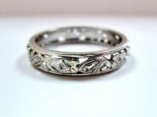 L@@K Beautiful Vintage 18k White Gold Filigree Band RING with Design size 9.5