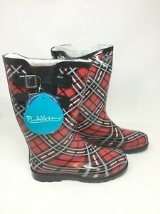 Puddletons Women's Rubber Cozy Classic Double Strap  Plaid Boots W101 ss