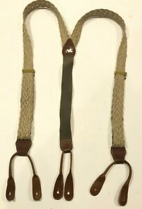 Tan Braided Woven Buckles Braces Suspenders