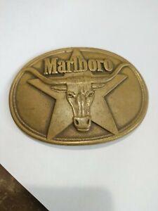 Vintage 1987 Marlboro Cigarette Belt Buckle Long Horn Bull